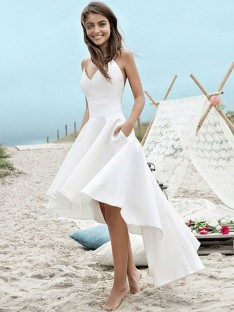 A-Line Satin Spaghetti Straps Asymmetrical Wedding Dress