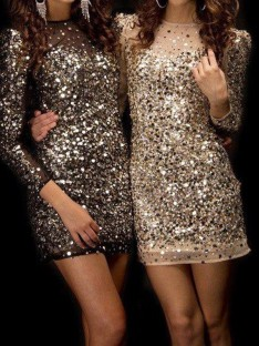 Sheath Bateau Sequins Short Dress