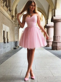 A-Line Sweetheart Satin Short Dress