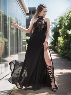 A-Line Halter Floor-Length Lace Tulle Dress