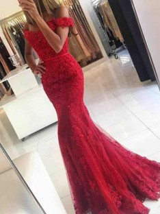 Mermaid Off-the-Shoulder Sweep/Brush Train Tulle Dress