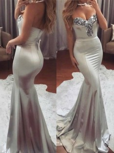 Mermaid Sweetheart Sweep/Brush Train Sequin Satin Dress