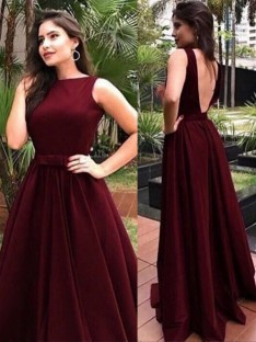 A-Line Bateau Floor-Length Velvet Dress