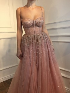 A-Line Spaghetti Straps Floor-Length Rhinestone Tulle Dress