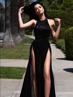 A-Line Jewel Floor-Length Sequin Tulle Dress