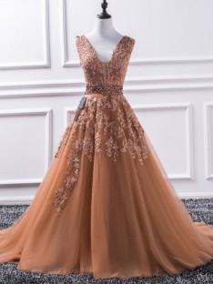 A-Line V-neck Sweep/Brush Train Tulle Dress
