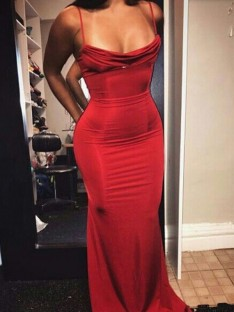 Sheath Spaghetti Straps Floor-Length Spandex Dress