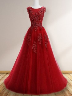 A-Line Scoop Floor-Length Tulle Dress