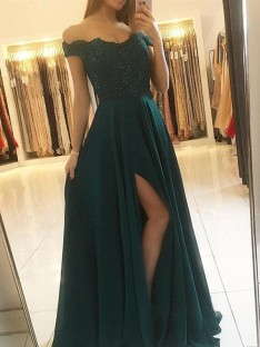 A-Line Off-the-Shoulder Floor-Length Chiffon Dress