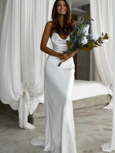 Sheath/Column Spaghetti Straps Sweep/Brush Train Silk like Satin Wedding Dress
