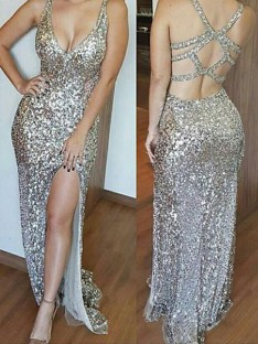 Sheath/Column V-neck Long Sequins Dress