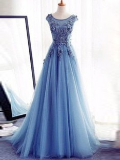 Ball Gown Jewel Sweep/Brush Train Tulle Dress