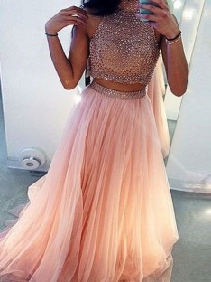 A-Line High Neck Tulle Long Two Piece Dress