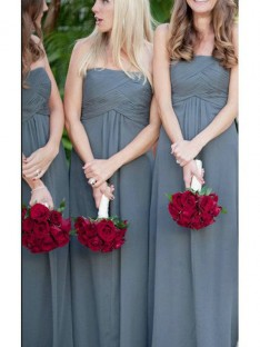 A-Line Strapless Ruched Long Chiffon Bridesmaid Dress