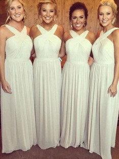 A-Line Halter Long Chiffon Bridesmaid Dress