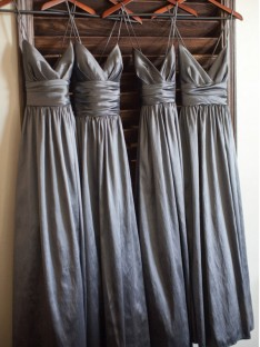 A-Line Spaghetti Straps Long Taffeta Bridesmaid Dress