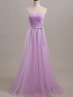 A-Line Sweetheart Long Sash/Ribbon/Belt Tulle Bridesmaid Dress