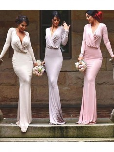 Sheath V-neck Long Jersey Bridesmaid Dress
