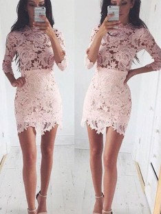 A-Line Scoop Lace Short/Mini Dress