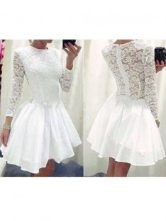 A-Line Scoop Lace Chiffon Short/Mini Dress