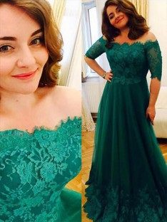 A-Line Tulle Off-the-Shoulder Applique Long Plus Size Dress