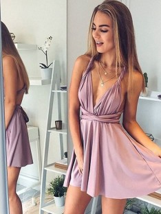 A-Line V-neck Short Satin Dress