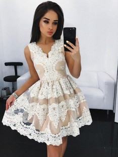 A-Line V-neck Lace Short Tulle Dress