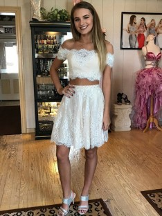 A-Line Off-the-Shoulder Short Lace Two Piece Dress