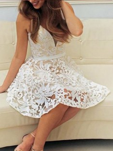 A-Line V-neck Short Lace Dress