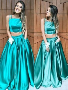 A-Line/Princess Square Floor-Length Satin Two Piece Dress