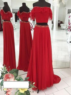 A-Line/Princess Off-the-Shoulder Chiffon Floor-Length Two Piece Dress