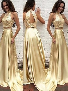 A-Line/Princess High Neck Satin Sweep/Brush Train Two Piece Dress