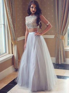 A-Line/Princess Bateau Tulle Floor-Length Two Piece Dress