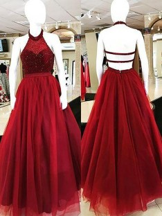 Ball Gown Halter Floor-Length Tulle Dress