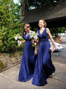 A-Line V-neck Pleats Chiffon Long Bridesmaid Dress