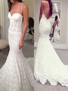 Trumpet/Mermaid Spaghetti Straps Court Train Lace Wedding Dress