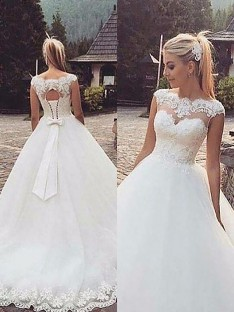 Ball Gown Bateau Lace Tulle Court Train Wedding Dress