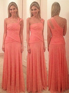 Sheath One-Shoulder Floor-Length Chiffon Bridesmaid Dress