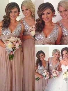 A-Line V-neck Long Sequin Chiffon Bridesmaid Dress