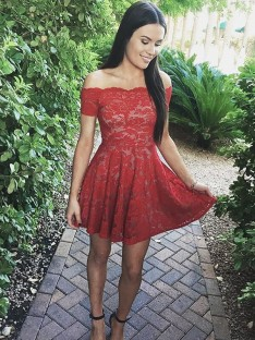 A-Line Off-the-Shoulder Short Lace Dress