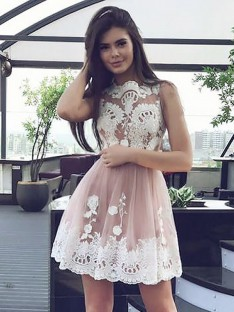 A-Line Scoop Lace Short Chiffon Dress