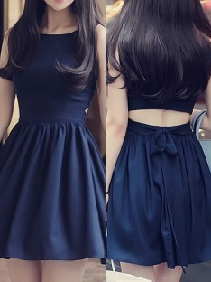 A-Line Scoop Short Chiffon Dress