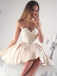 A-Line Sweetheart Applique Short Satin Dress