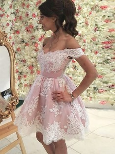 A-Line Off-the-Shoulder Short Tulle Dress