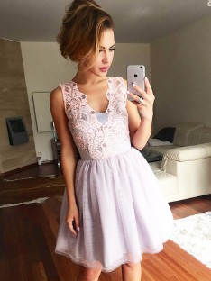 A-Line V-neck Lace Tulle Short Dress
