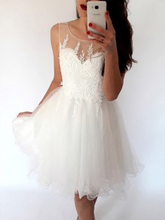 A-Line Scoop Tulle Short Dress