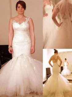 Trumpet/Mermaid Floor-Length Organza Straps Wedding Dress