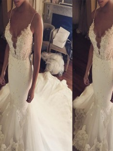 Trumpet/Mermaid Spaghetti Straps Court Train Lace Tulle Wedding Dress