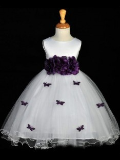 A-line Scoop Ankle-length Organza Flower Girl Dress