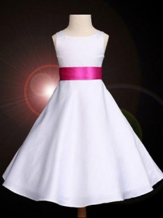 A-line Scoop Ankle-length Satin Flower Girl Dress